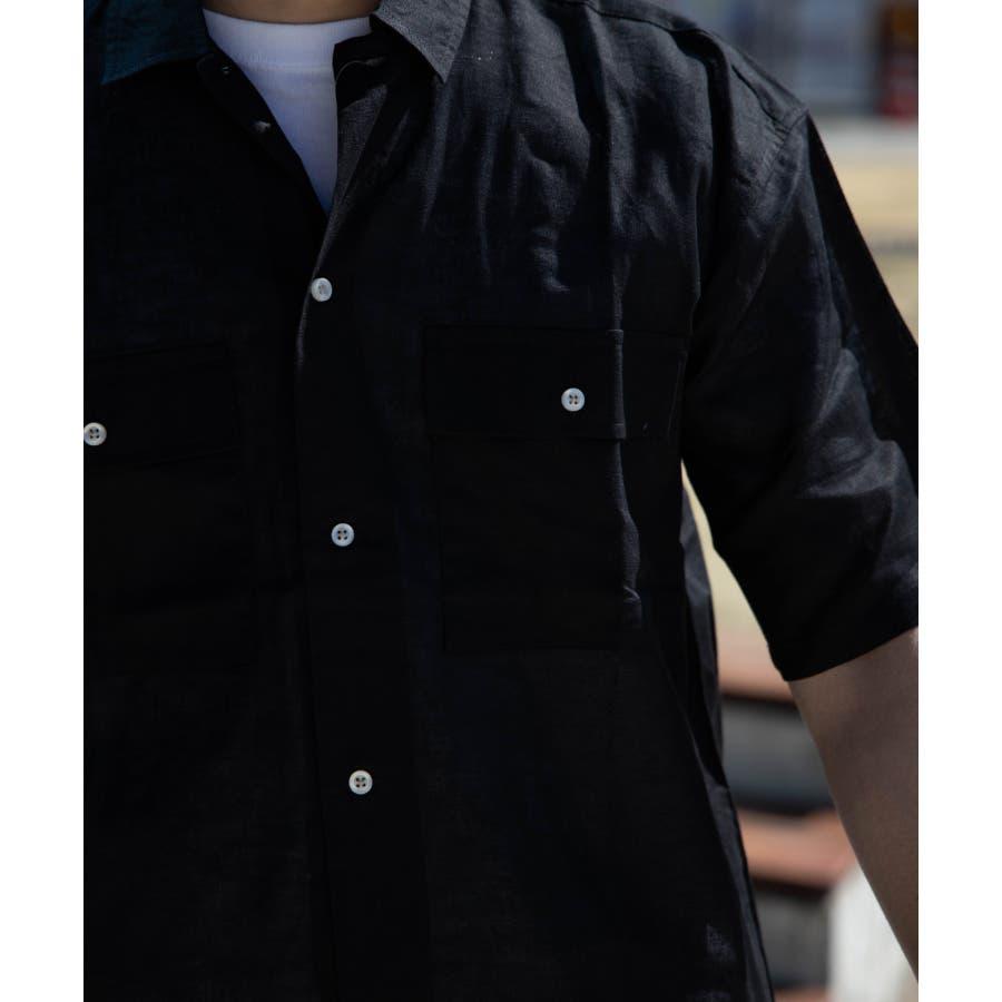NYLAUS 綿麻 ストレッチ ビッグシルエット 半袖 ワークシャツ ミリタリーシャツ 6