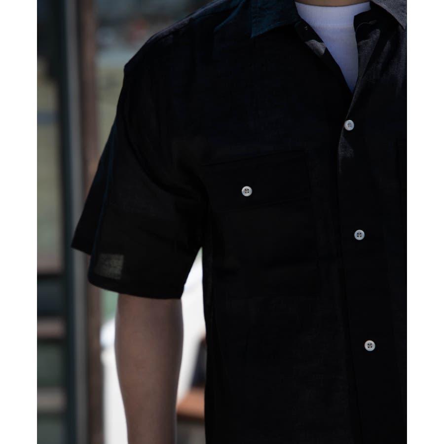 NYLAUS 綿麻 ストレッチ ビッグシルエット 半袖 ワークシャツ ミリタリーシャツ 7
