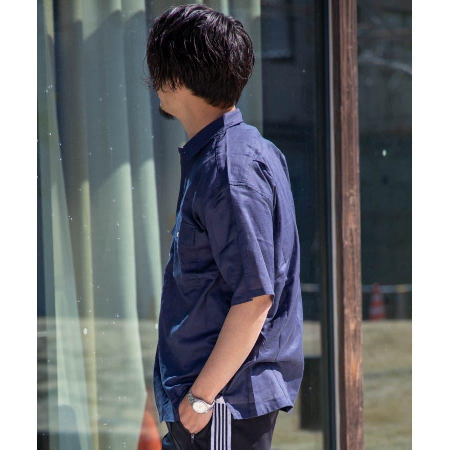 NYLAUS 綿麻 ストレッチ ビッグシルエット 半袖 ワークシャツ ミリタリーシャツ 8