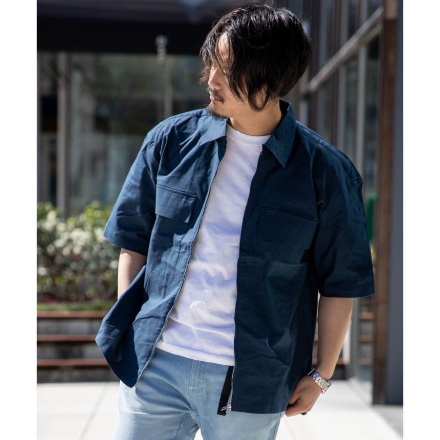 NYLAUS ビッグシルエット 綿麻 ストレッチ ZIPアップ 半袖 ワークシャツ ミリタリーシャツ 64