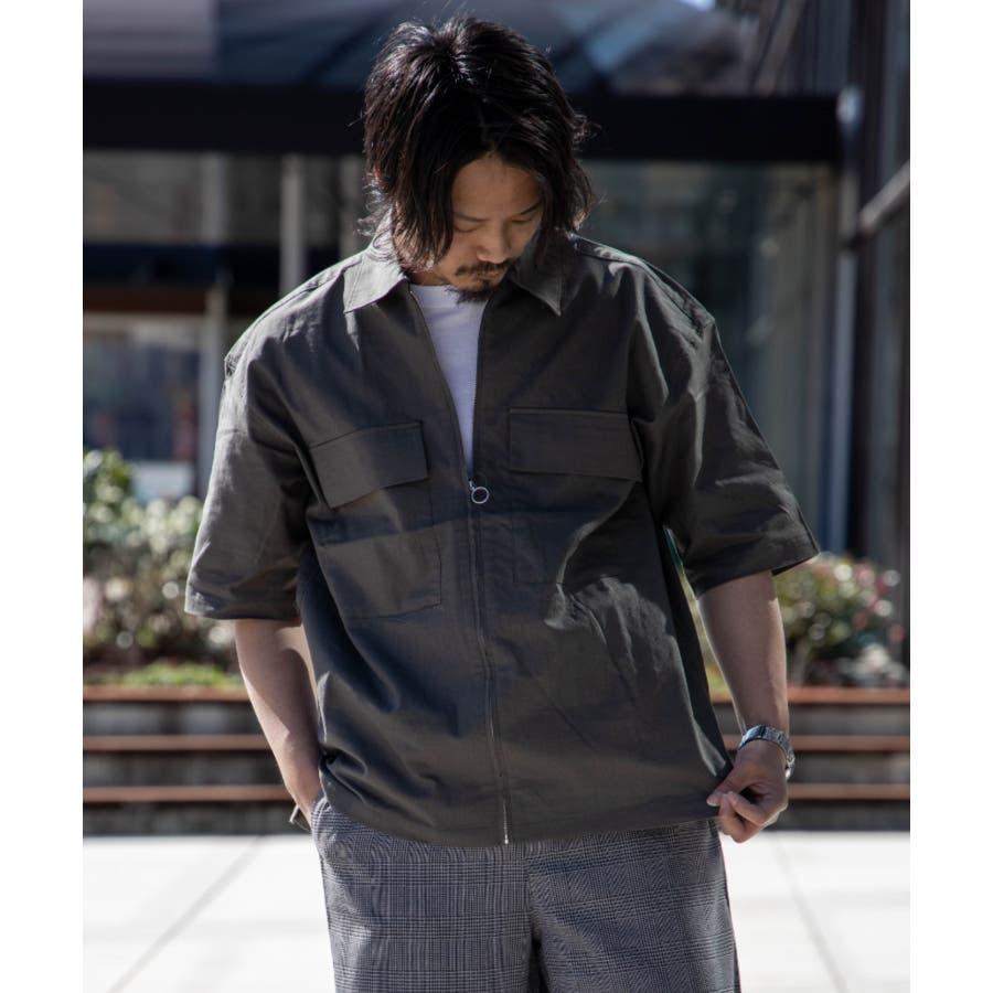 NYLAUS ビッグシルエット 綿麻 ストレッチ ZIPアップ 半袖 ワークシャツ ミリタリーシャツ 53