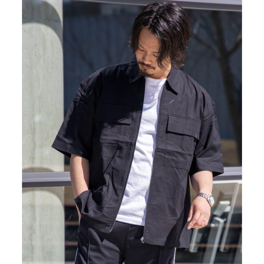 NYLAUS ビッグシルエット 綿麻 ストレッチ ZIPアップ 半袖 ワークシャツ ミリタリーシャツ 21