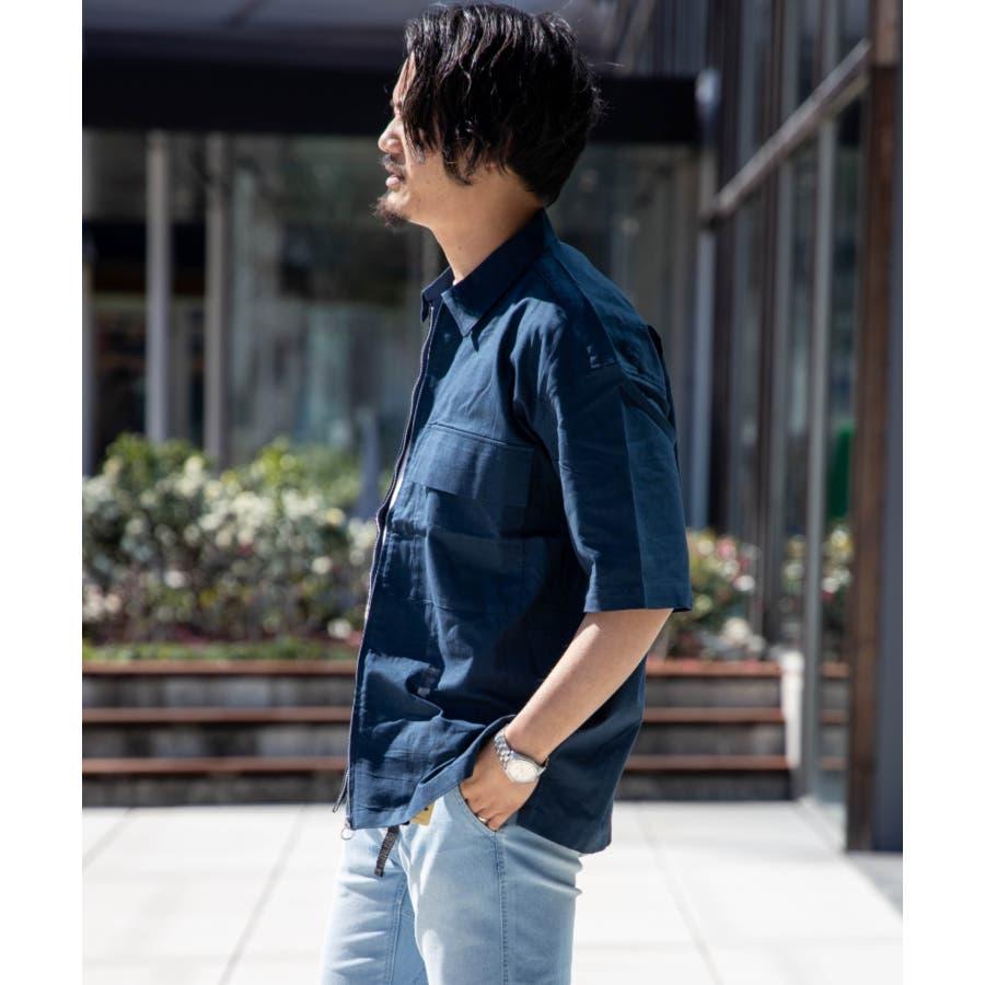 NYLAUS ビッグシルエット 綿麻 ストレッチ ZIPアップ 半袖 ワークシャツ ミリタリーシャツ 4