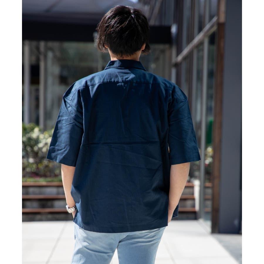 NYLAUS ビッグシルエット 綿麻 ストレッチ ZIPアップ 半袖 ワークシャツ ミリタリーシャツ 5