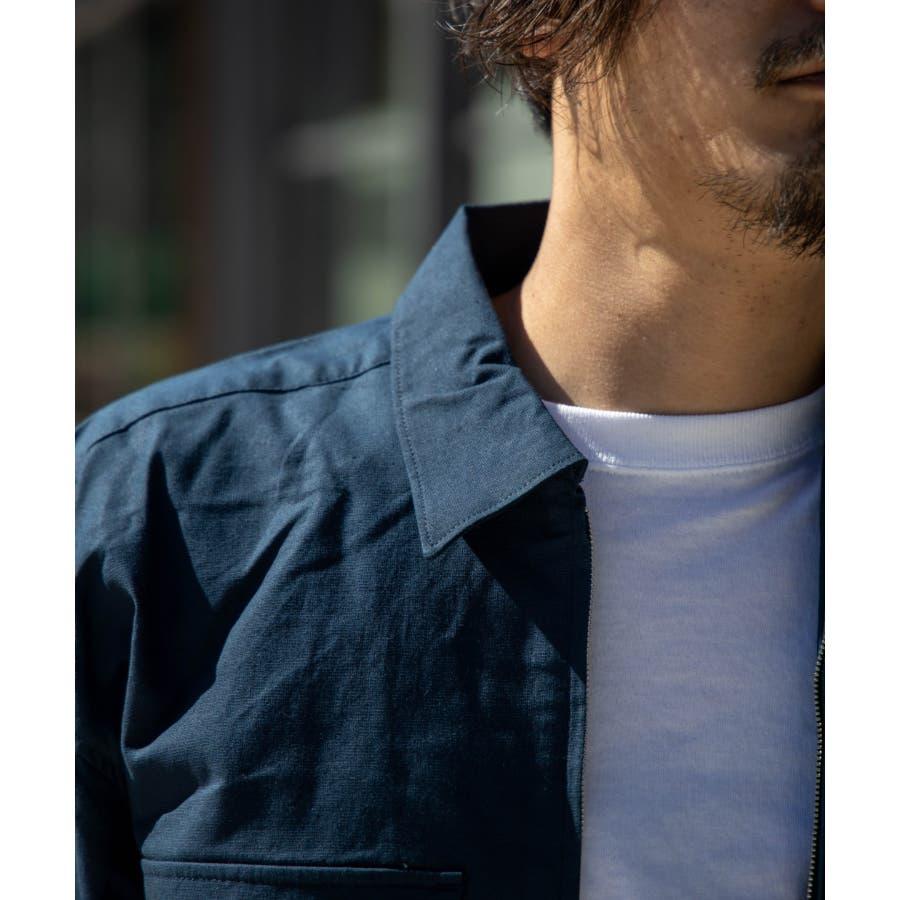 NYLAUS ビッグシルエット 綿麻 ストレッチ ZIPアップ 半袖 ワークシャツ ミリタリーシャツ 6