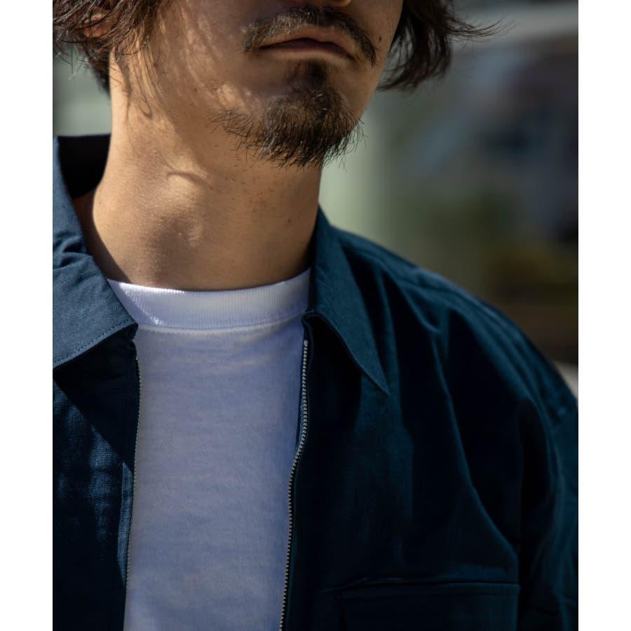 NYLAUS ビッグシルエット 綿麻 ストレッチ ZIPアップ 半袖 ワークシャツ ミリタリーシャツ 7