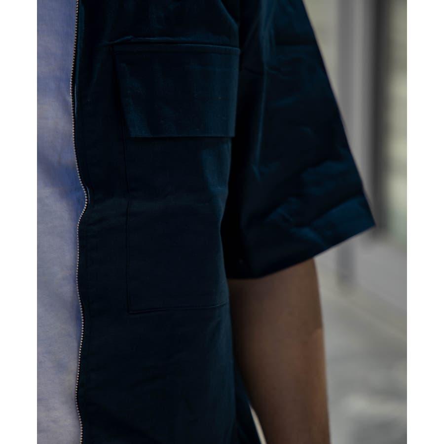 NYLAUS ビッグシルエット 綿麻 ストレッチ ZIPアップ 半袖 ワークシャツ ミリタリーシャツ 8
