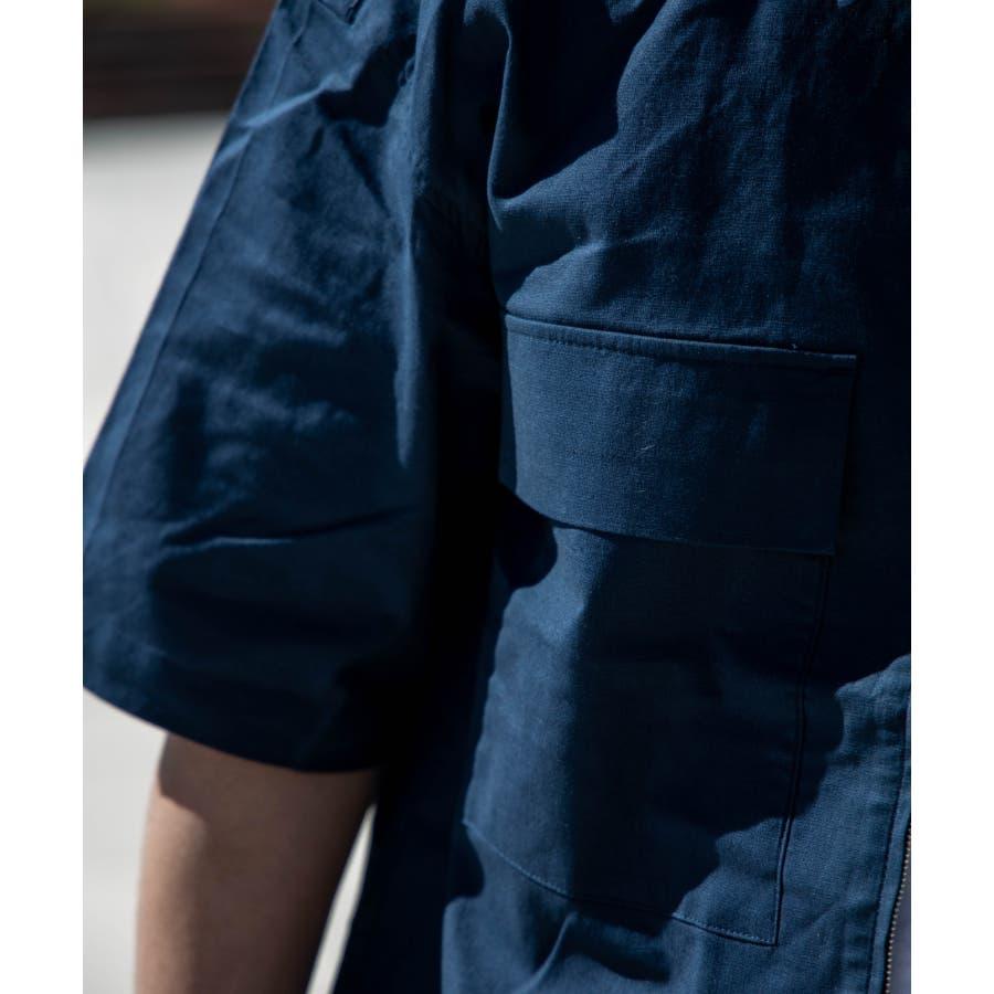 NYLAUS ビッグシルエット 綿麻 ストレッチ ZIPアップ 半袖 ワークシャツ ミリタリーシャツ 9