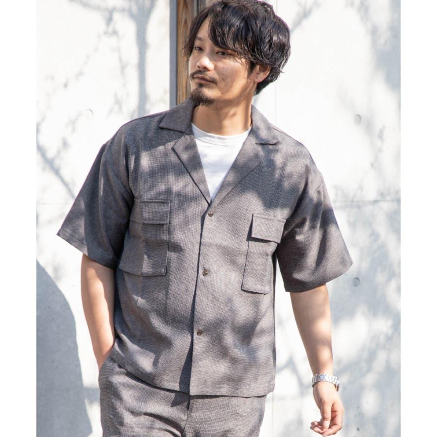 NYLAUS ビッグシルエット 麻ライク 杢 半袖 ミリタリーシャツ ワークシャツ 26