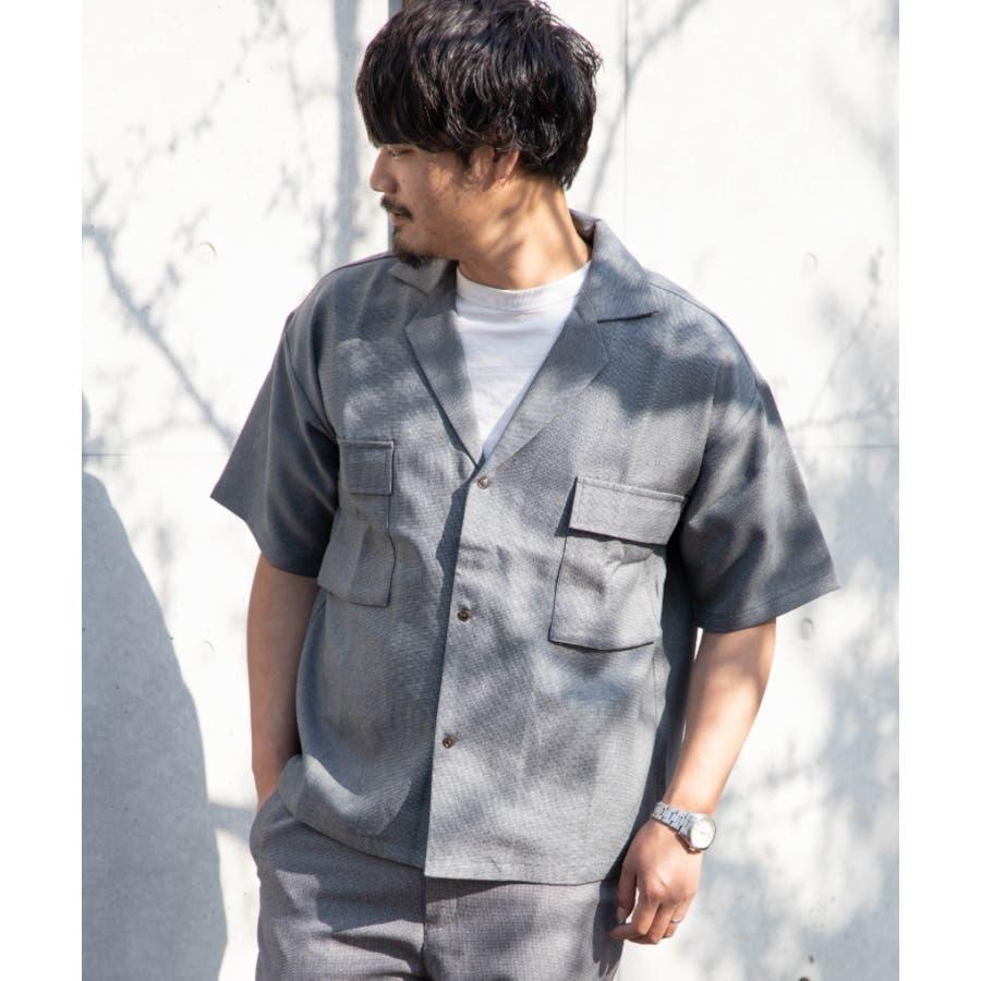 NYLAUS ビッグシルエット 麻ライク 杢 半袖 ミリタリーシャツ ワークシャツ 23