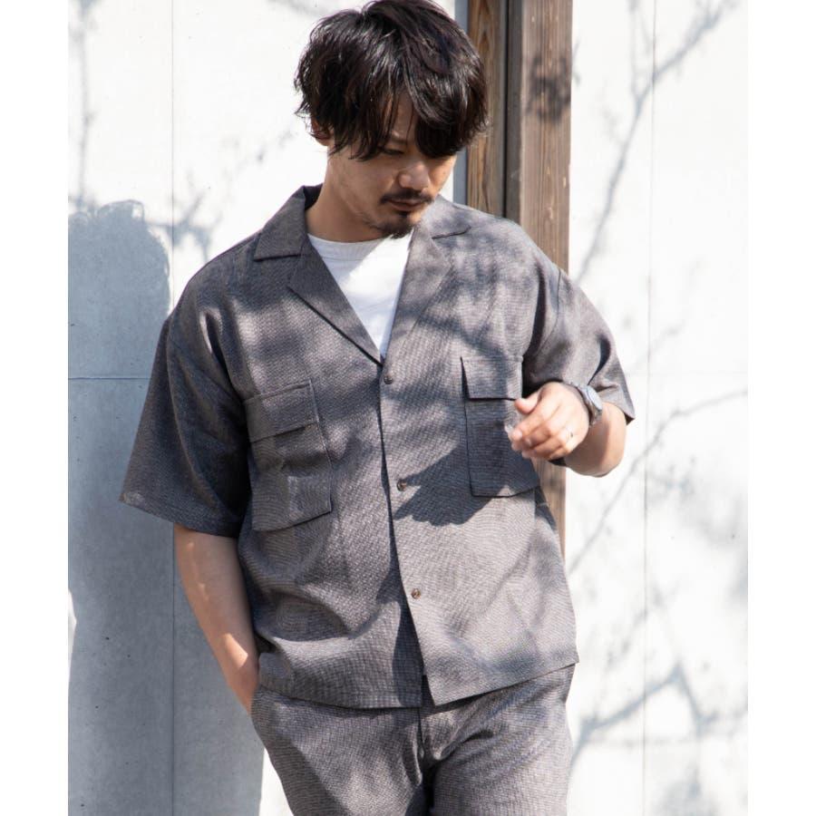 NYLAUS ビッグシルエット 麻ライク 杢 半袖 ミリタリーシャツ ワークシャツ 3