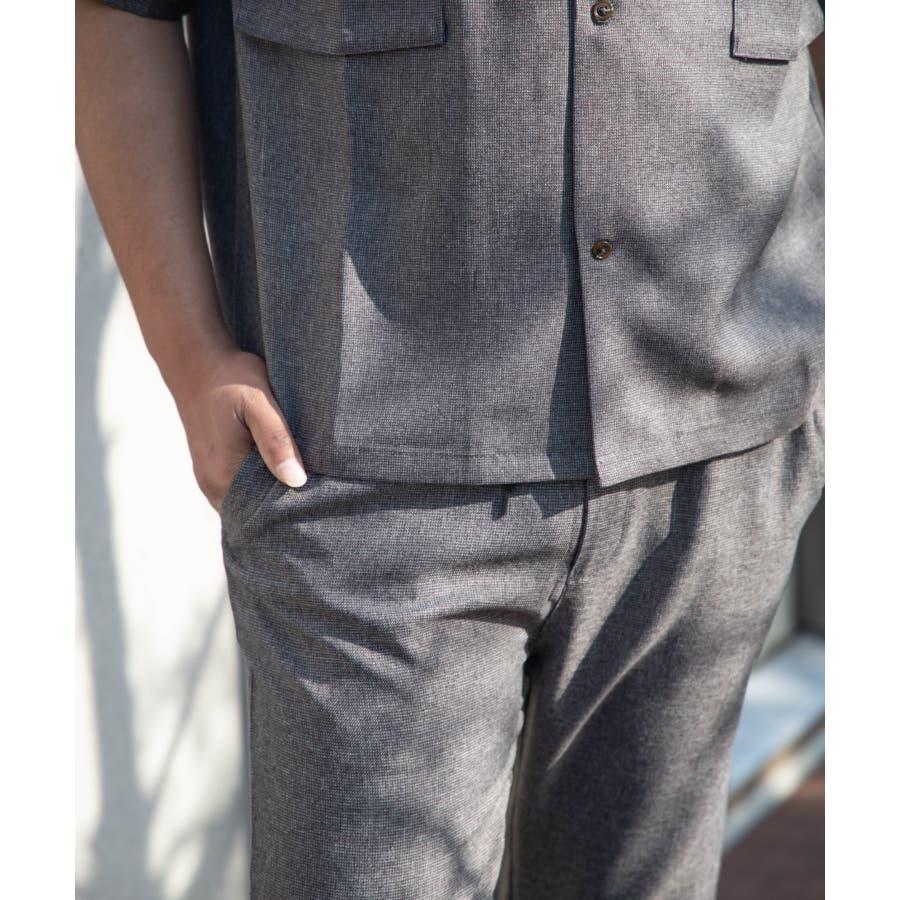 NYLAUS ビッグシルエット 麻ライク 杢 半袖 ミリタリーシャツ ワークシャツ 4