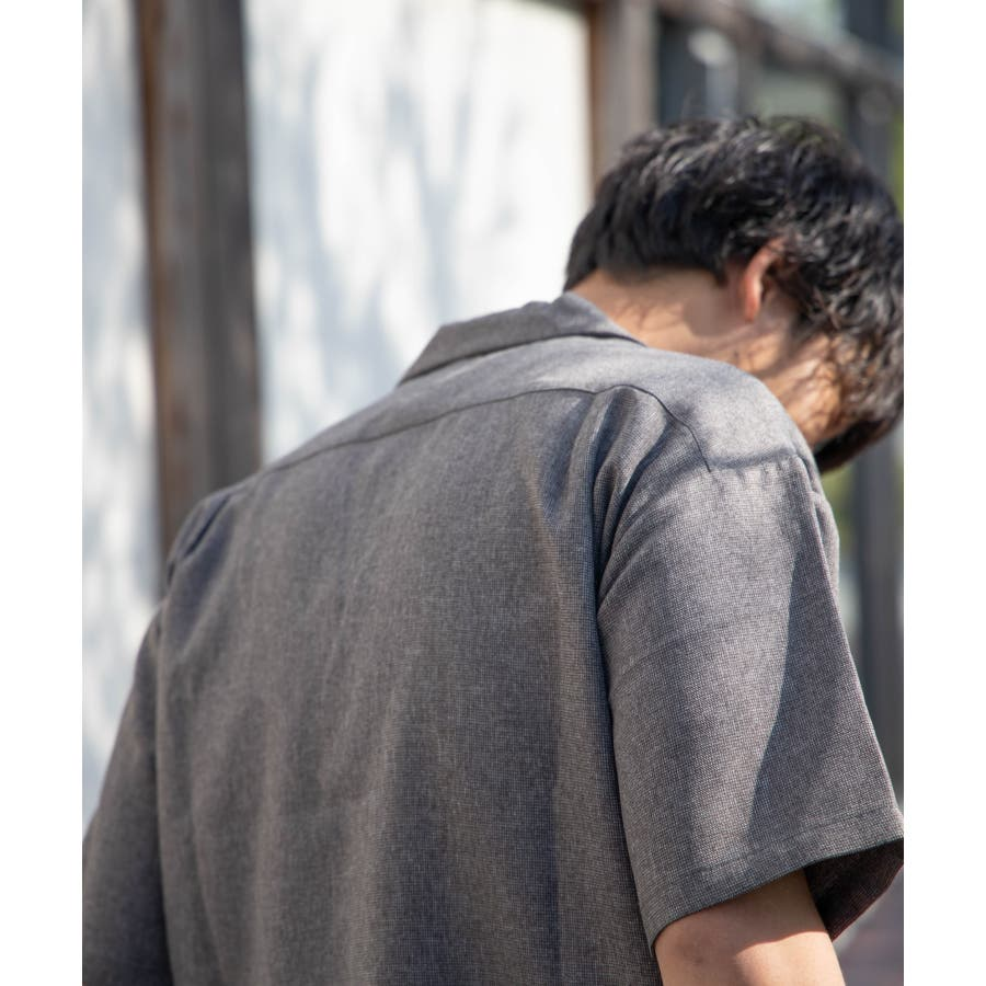 NYLAUS ビッグシルエット 麻ライク 杢 半袖 ミリタリーシャツ ワークシャツ 5