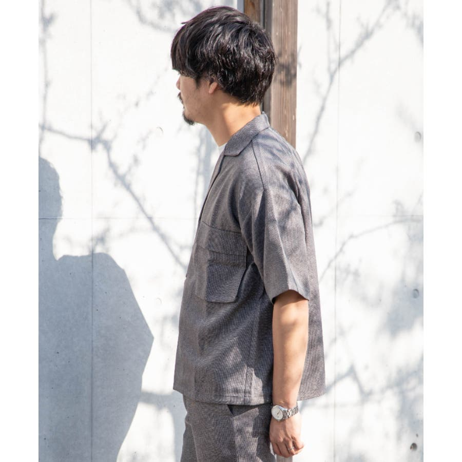 NYLAUS ビッグシルエット 麻ライク 杢 半袖 ミリタリーシャツ ワークシャツ 7