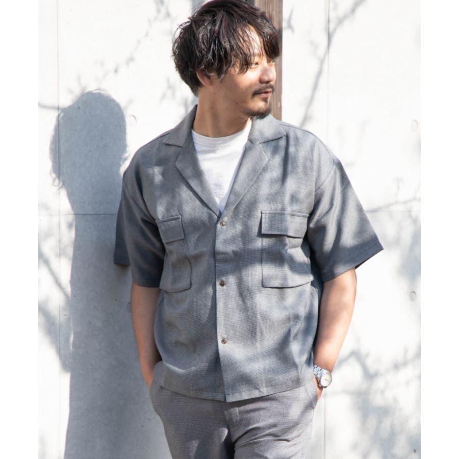 NYLAUS ビッグシルエット 麻ライク 杢 半袖 ミリタリーシャツ ワークシャツ 9