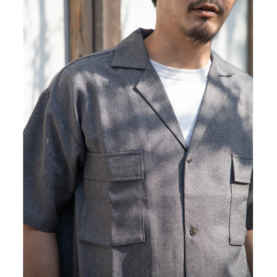 NYLAUS ビッグシルエット 麻ライク 杢 半袖 ミリタリーシャツ ワークシャツ 10