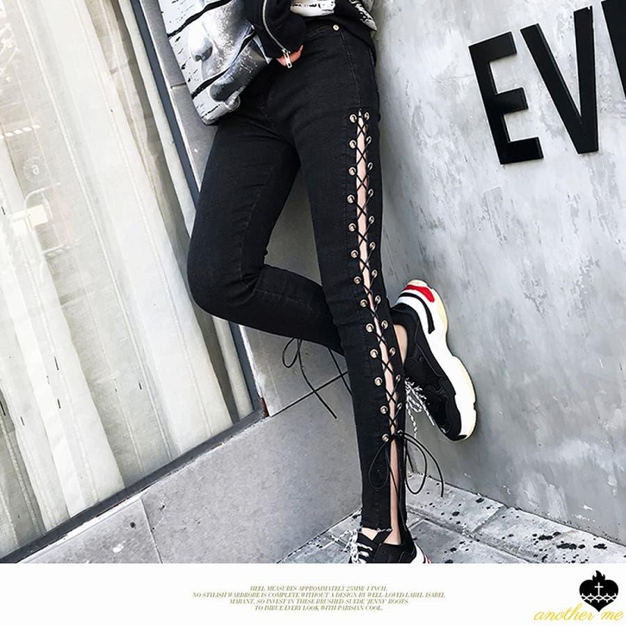 セクシー サイドリップドジーンズ デニムパンツ スキニーパンツ スリムパンツ 黒スキニー パンツ サイドスリットパンツ ボトムス レースアップ  編み上げ レディース ファッション 韓国 ファッション 韓国服 パンク 女性 かっこいい おしゃれ