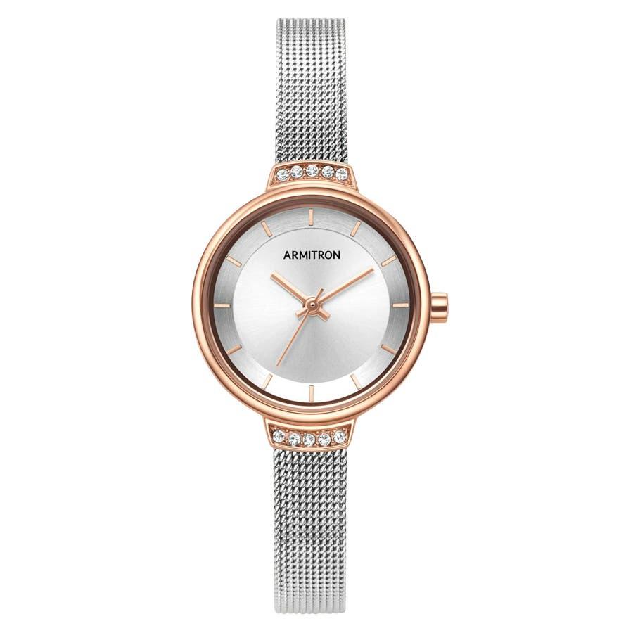 ARMITRON 腕時計 【スワロフスキー】レディース アナログ ツートーン メッシュブレスレットウォッチ 106