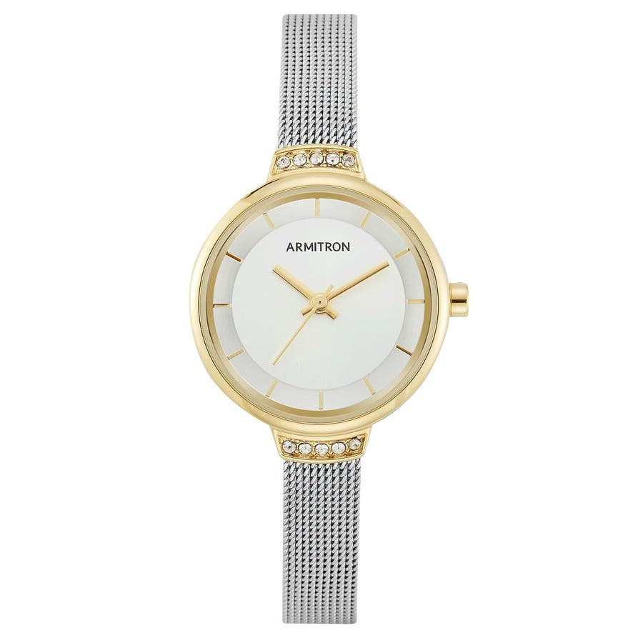 ARMITRON 腕時計 【スワロフスキー】レディース アナログ ツートーン メッシュブレスレットウォッチ 107