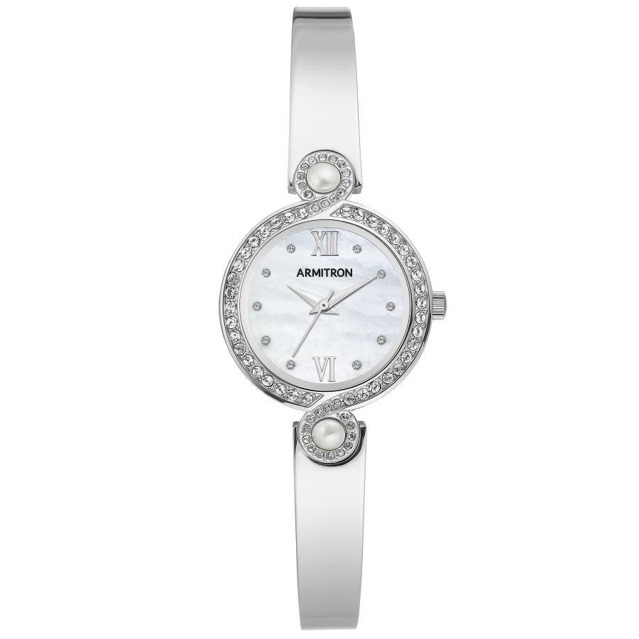 ARMITRON 腕時計 【マザーオブパール】レディース アナログ ブレスレットウォッチ クリスタルアクセント 103