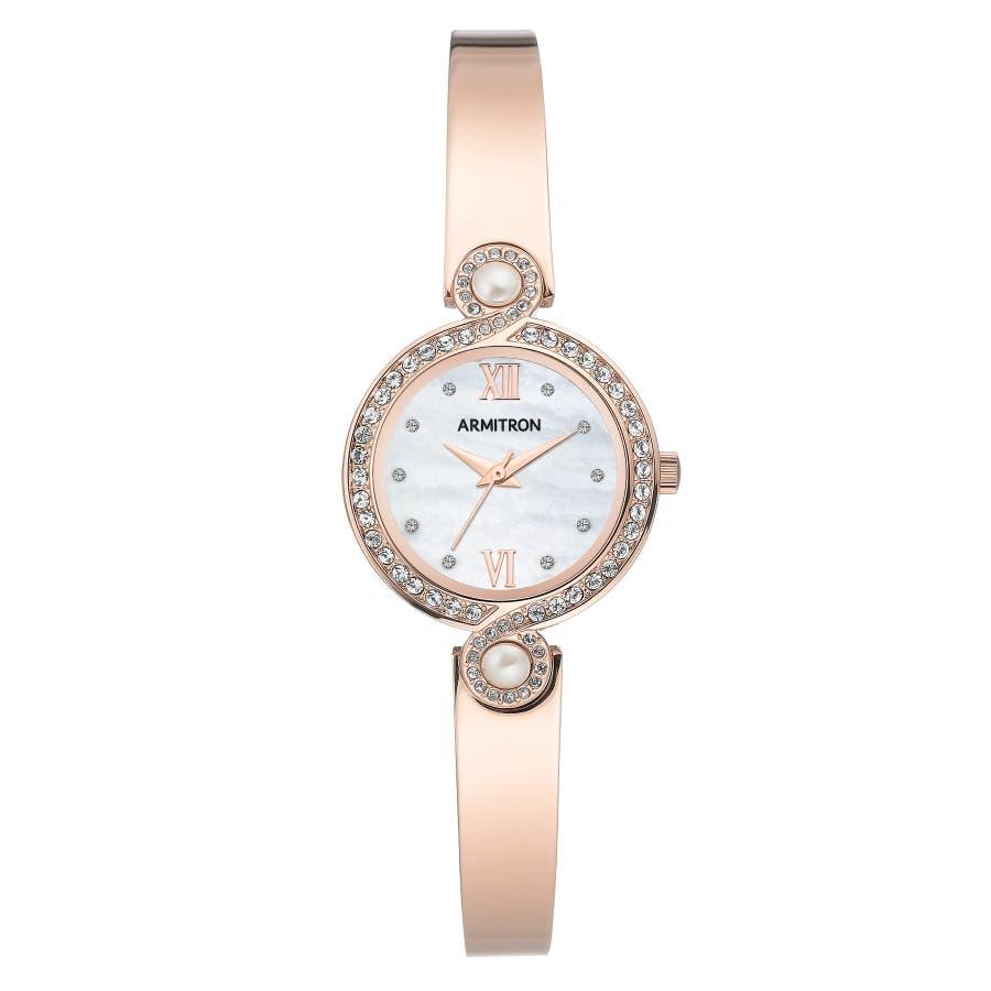 ARMITRON 腕時計 【マザーオブパール】レディース アナログ ブレスレットウォッチ クリスタルアクセント 105