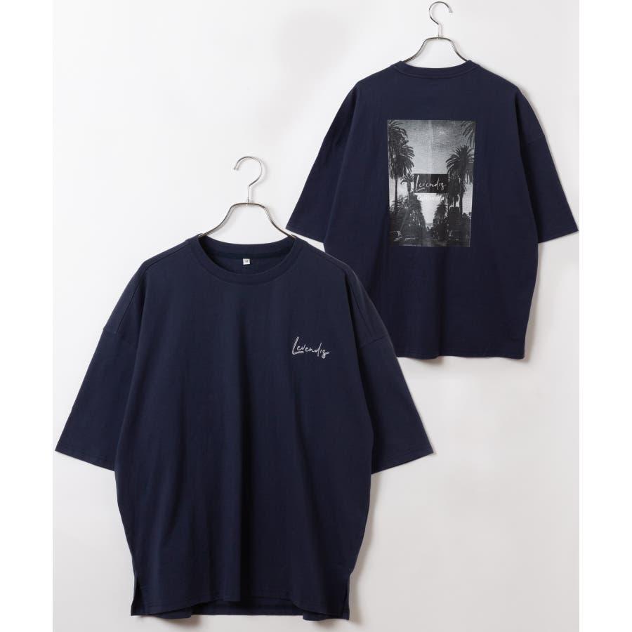 【LEVENDIS(レベンディス)】バックプリント ドロップショルダー Tシャツ ロゴ付き(ユニセックス) 64