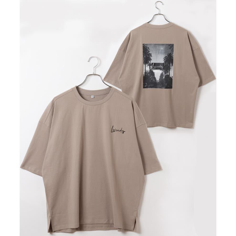 【LEVENDIS(レベンディス)】バックプリント ドロップショルダー Tシャツ ロゴ付き(ユニセックス) 23