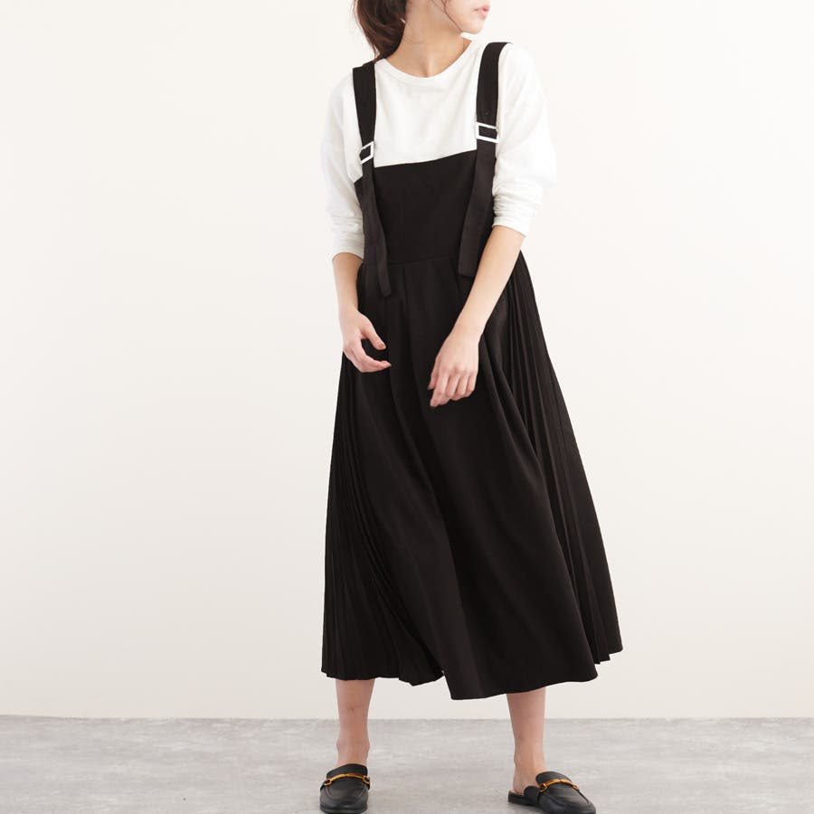 サイドプリーツジャンパースカート ベージュ ブラック 21