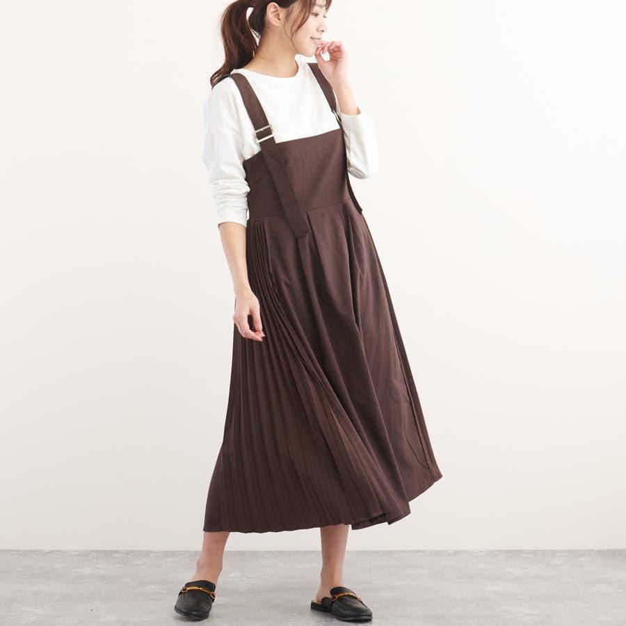 サイドプリーツジャンパースカート ベージュ ブラック 29