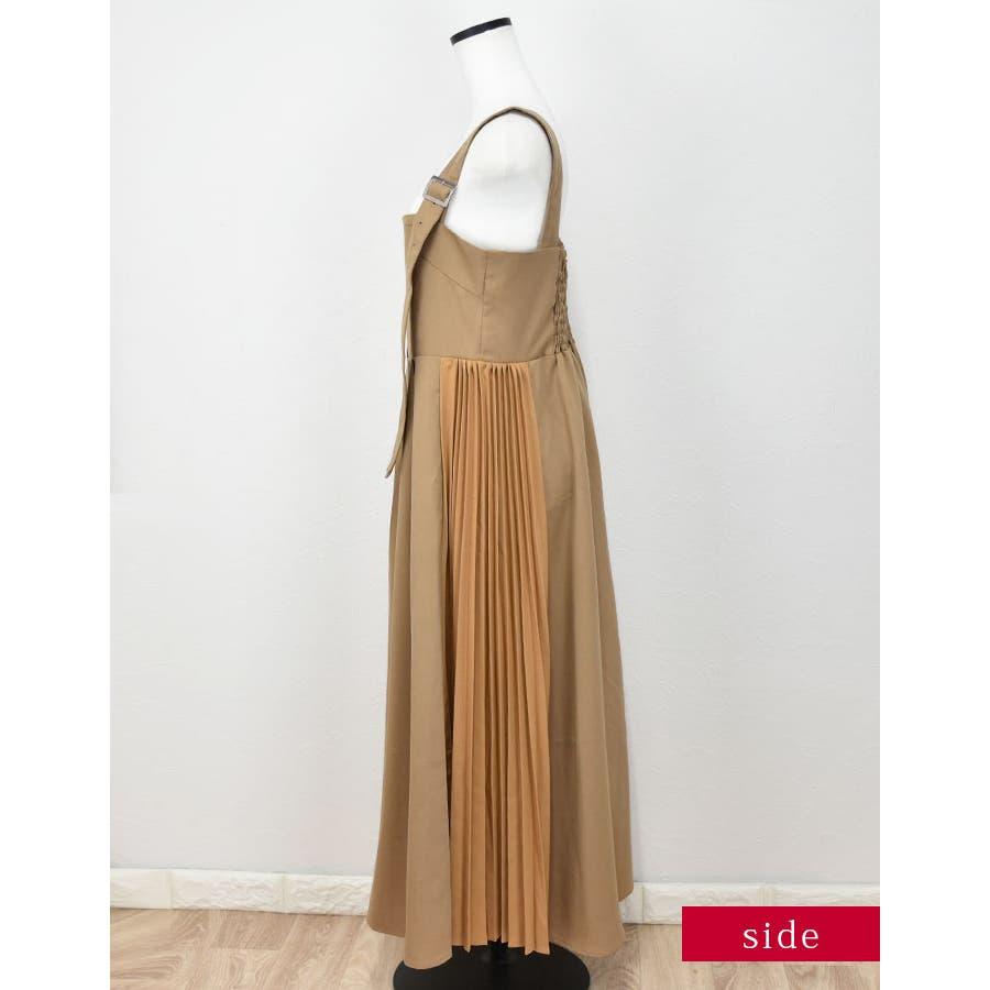 サイドプリーツジャンパースカート ベージュ ブラック 4