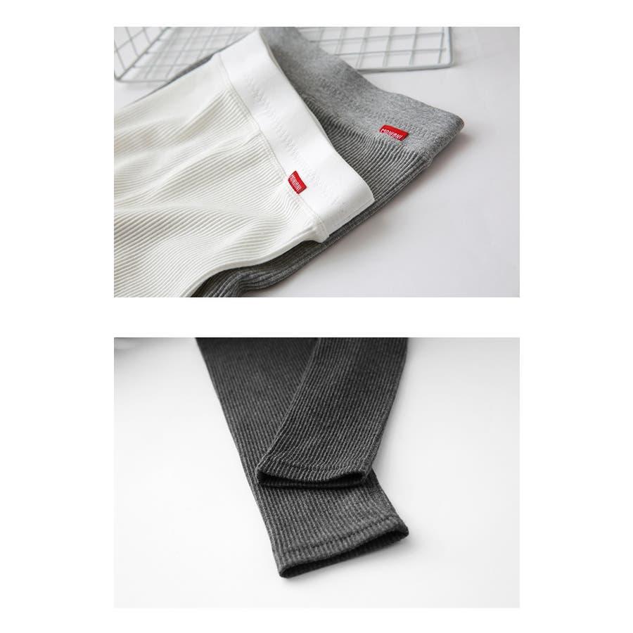 M〜XL コットン95% ポリウレタン5% リブ編みレギンス  スパッツ タイツ パンツ ストレッチ 伸縮 レディース u413 3