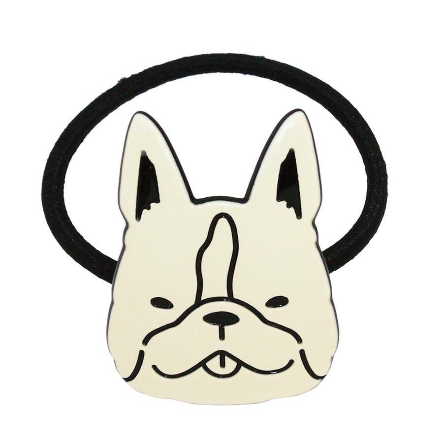ヘアゴム フレンチブルドッグ 柴犬 トイプードル イラスト モノトーン