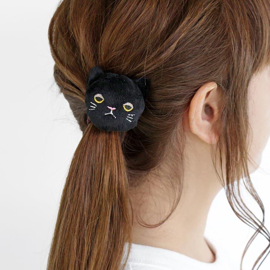 ヘアゴム 目つきの悪いネコ ぬいぐるみ ヘアポニー[お世話や][osewaya] 3