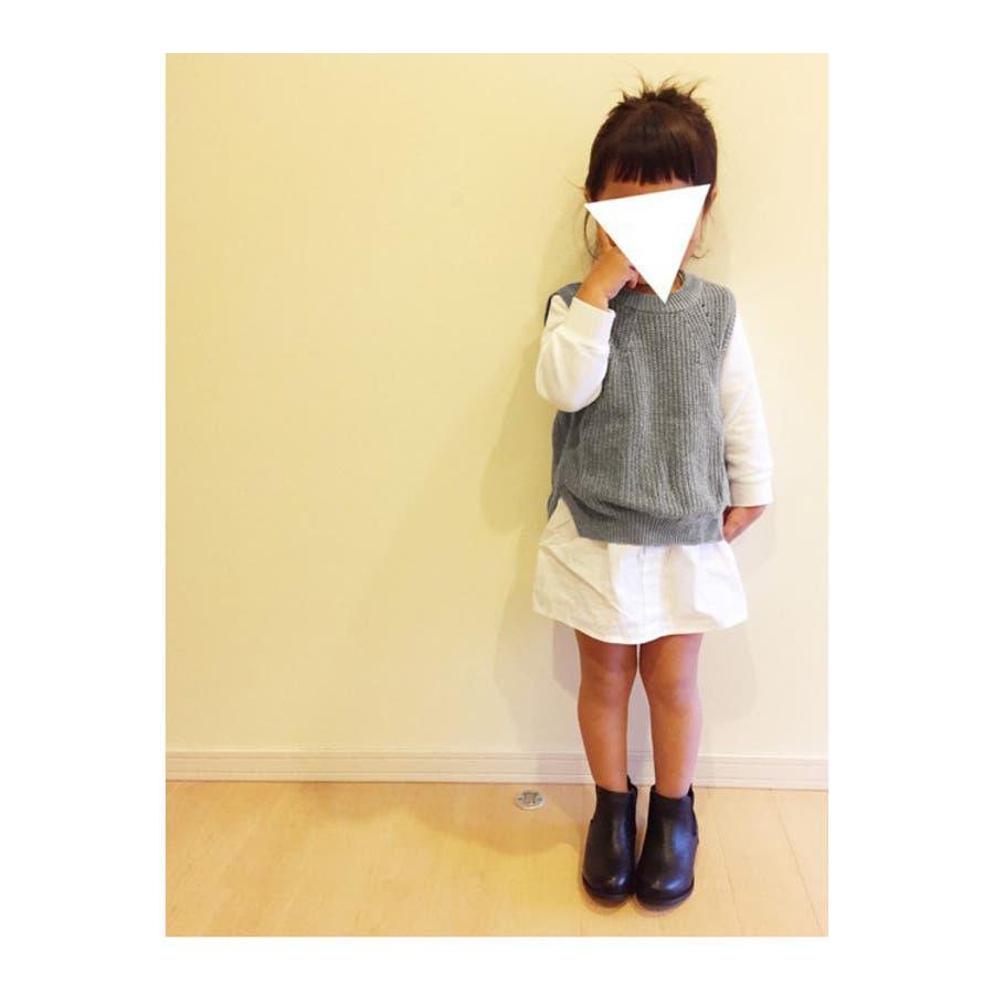 af47f4002529a キッズテールカットスリット入りニットベスト子供服子供女の子春ニットクルーネックセーター