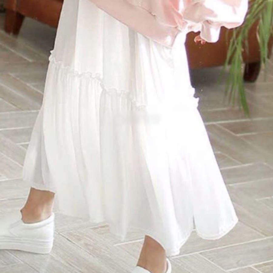 ティアード異素材キャミソールワンピース レディース トップス ロング マキシ インナーワンピース 大きめ ゆったり ペチコート 無地レイヤード 重ね着 ノースリーブ フレア フリル シフォン きれいめ 可愛い 韓国ファッション 4