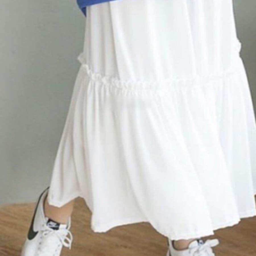 ティアード異素材キャミソールワンピース レディース トップス ロング マキシ インナーワンピース 大きめ ゆったり ペチコート 無地レイヤード 重ね着 ノースリーブ フレア フリル シフォン きれいめ 可愛い 韓国ファッション 6