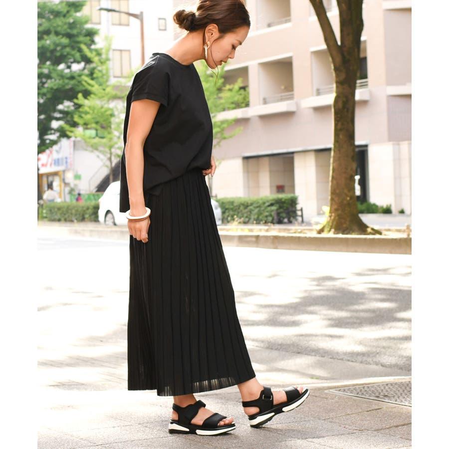 ジョーゼットプリーツタイトスカート レディース ボトムス 夏 ロング ミモレ マキシ ゆったり Iライン フレア ウエストゴムきれいめ 上品 無地 シンプル カジュアル 可愛い デイリー 着回し 膝下 大人 韓国ファッション 5