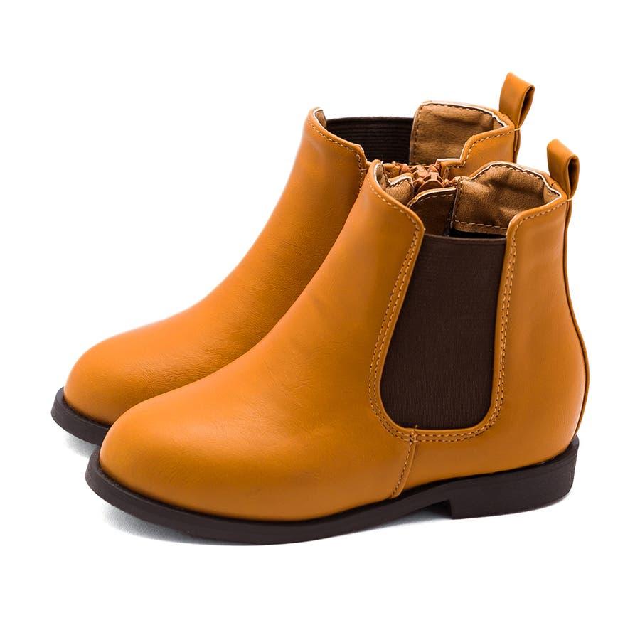 キッズ サイドゴア ブーツ サイドゴアブーツ 内側サイドジップ ショートブーツ 1.5cmヒール 痛くない 歩きやすい疲れない滑りにくい 防寒 ラウンドトゥ ローヒール ぺたんこ フラットヒール キッズシューズ 33