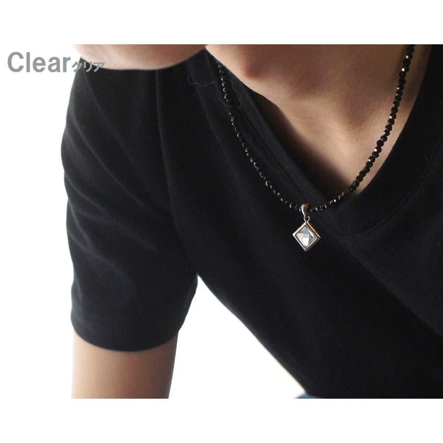 胸元を黒い輝きでセクシーに演出 ネックレス メンズ レディース カットオニキスブラックスピネル風 クリスタル天然石 ネックレス 5