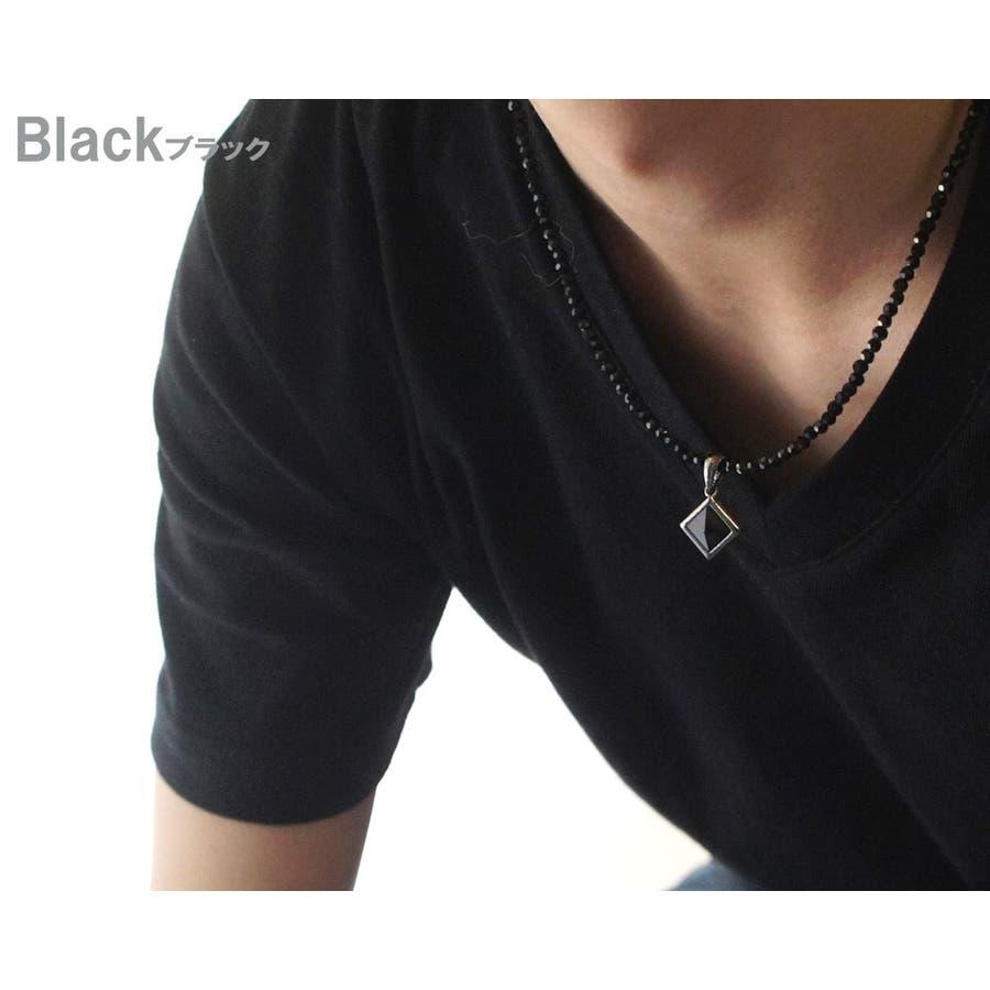 胸元を黒い輝きでセクシーに演出 ネックレス メンズ レディース カットオニキスブラックスピネル風 クリスタル天然石 ネックレス 6