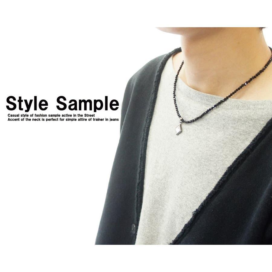 胸元を黒い輝きでセクシーに演出 ネックレス メンズ レディース カットオニキスブラックスピネル風 クリスタル天然石 ネックレス 7