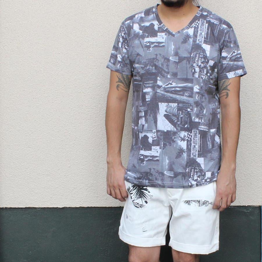 質感も良く形もいい感じです! Tシャツ 半袖 半袖Tシャツ メンズ おしゃれ かっこいい 大きいサイズ XL 総柄 黒 ブラック モノトーン モノクロ ビター 傲岸