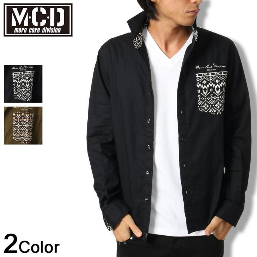 オシャレメンズなら一枚は持っておきたい MCD エムシーディー シャツ 長袖 ミリタリー2016秋冬 新作 黒 メンズ      メンズファッション 秋冬 節理