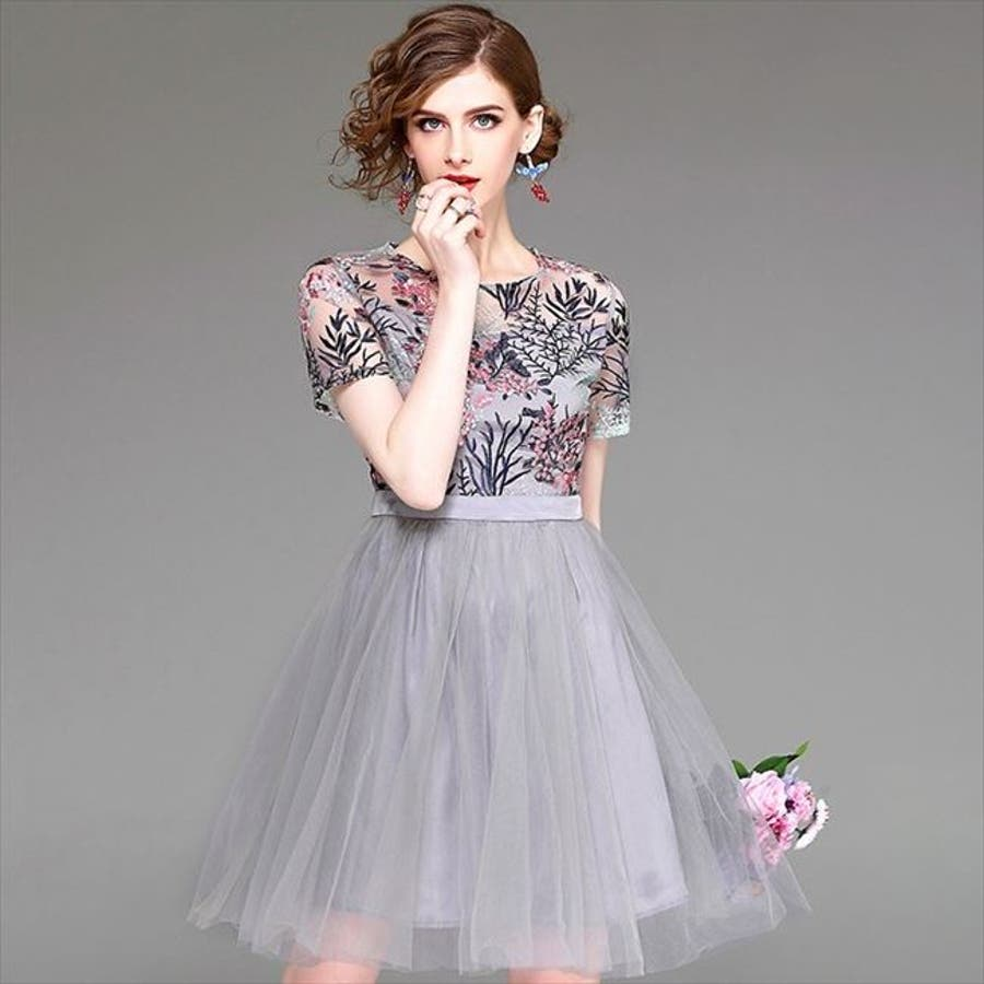 991546170f847 パーティードレス 花柄 刺繍 ふんわり 膝丈 半袖 ピンク グレー ワンピース ワンピ フォーマル ミニドレス