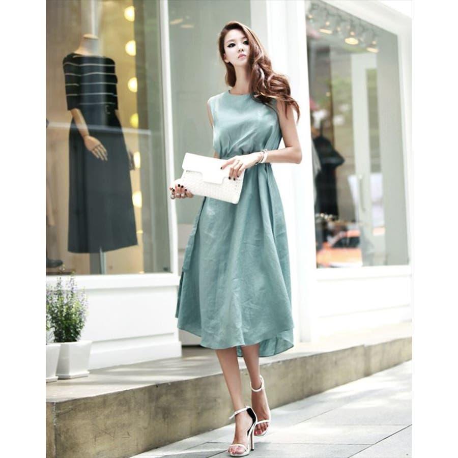 緑 ドレス ノースリーブ