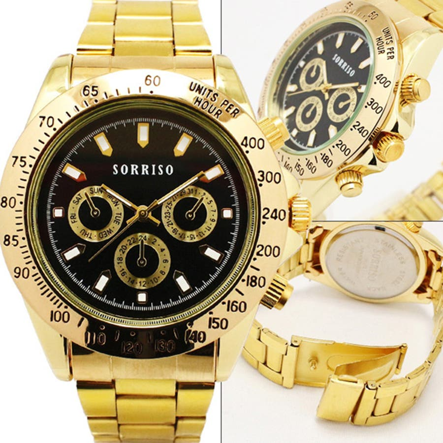 SORRISO ソリッソ 腕時計 メンズ アナログ クォーツ ゴールド ミディアム フェイス 腕時計 (spj,SRHI10m)メンズ