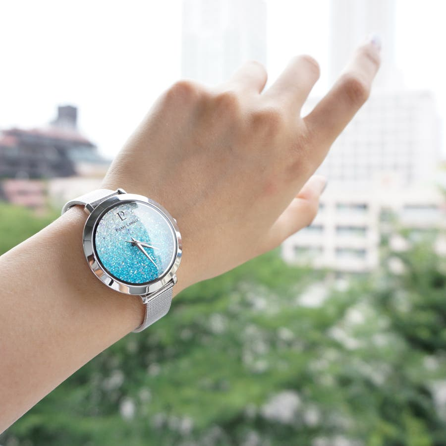 ピエール ラニエ きらきら スワロフスキー クリスタル グラデーションウォッチ レディース腕時計 メッシュベルト 丸形 8