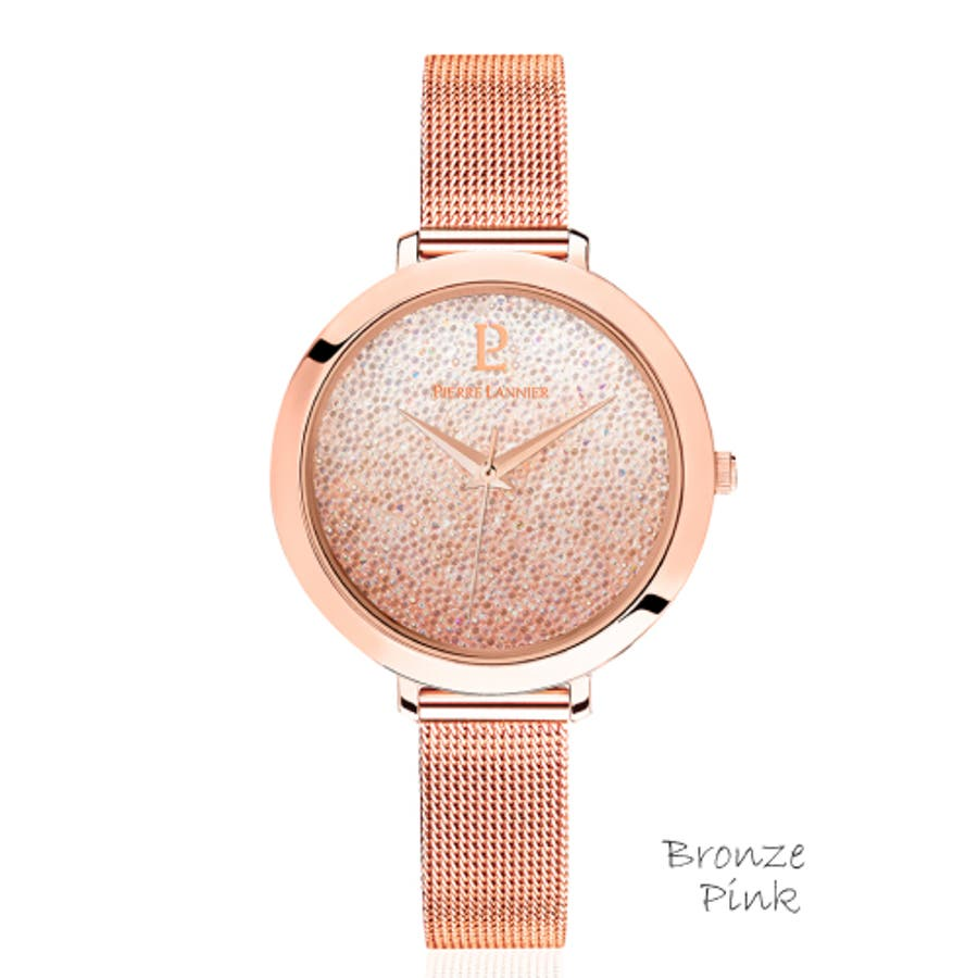 ピエール ラニエ きらきら スワロフスキー クリスタル グラデーションウォッチ レディース腕時計 メッシュベルト 丸形 4