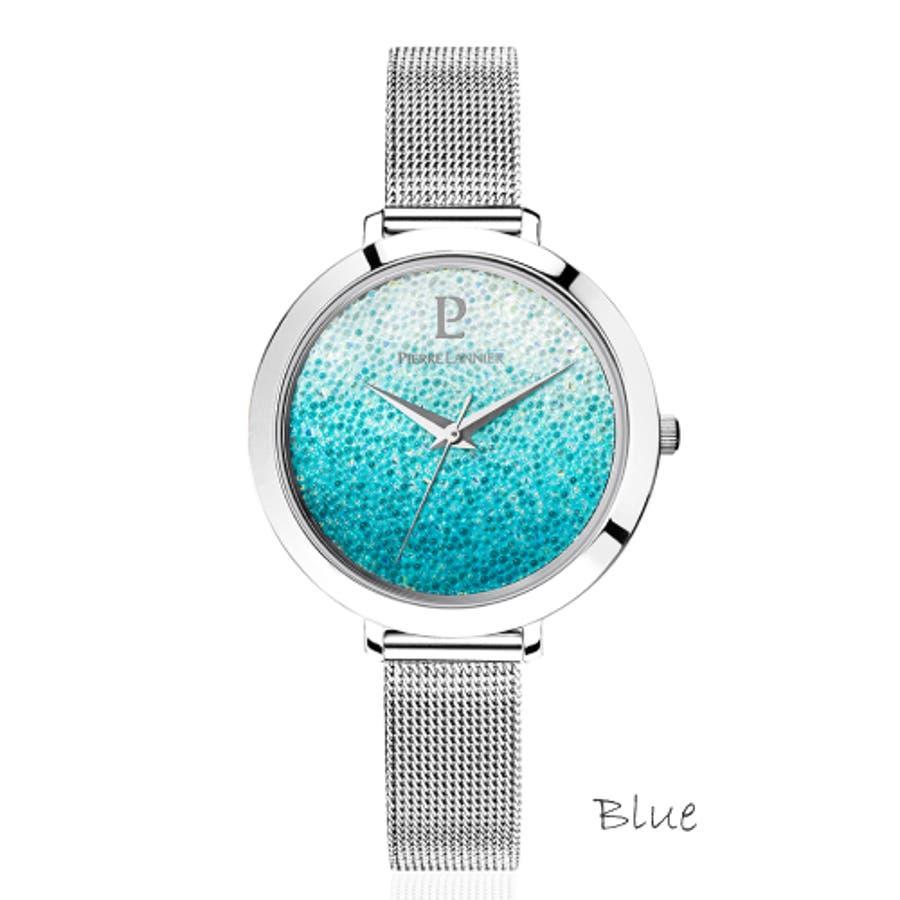ピエール ラニエ きらきら スワロフスキー クリスタル グラデーションウォッチ レディース腕時計 メッシュベルト 丸形 3