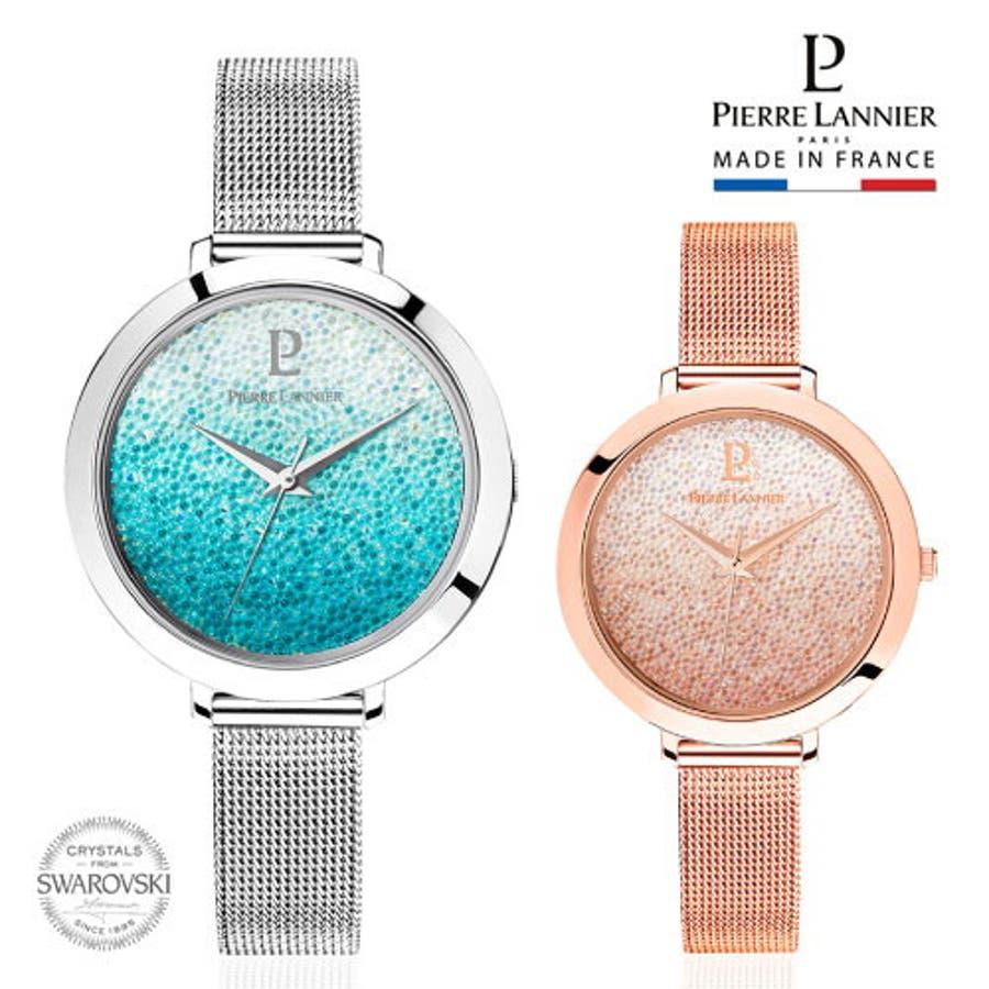ピエール ラニエ きらきら スワロフスキー クリスタル グラデーションウォッチ レディース腕時計 メッシュベルト 丸形 1